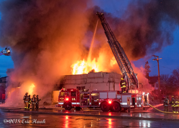 elevated master stream from Detroit ladder truck