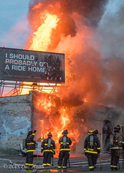 massive flames from commercial building fire in Detroit