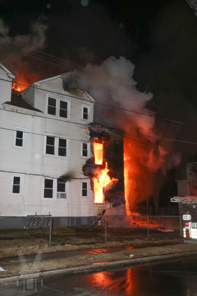flames from building fire at night