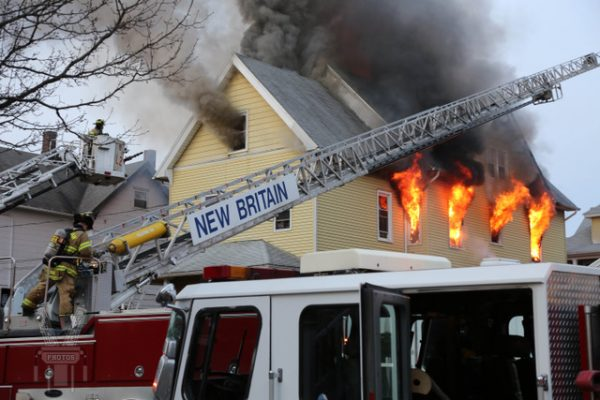 3-story house engulfed in flames