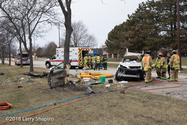 crash site after SUV hits tree in Buffalo Grove