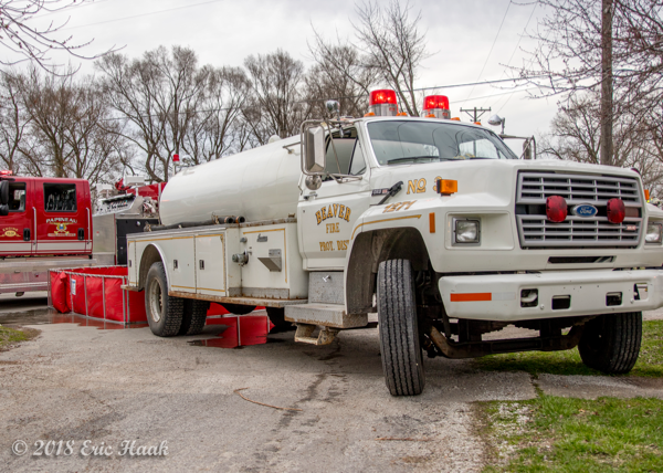 Beaver FPD tanker at fire scene