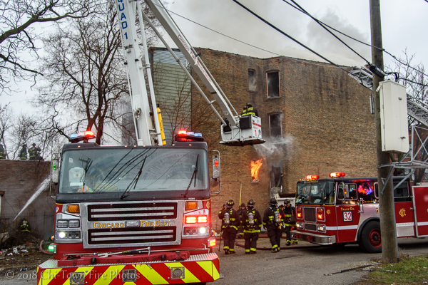 Chicago Firefighters battle a fire