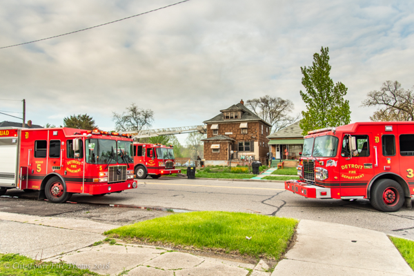 Detroit fire trucks at fire scene