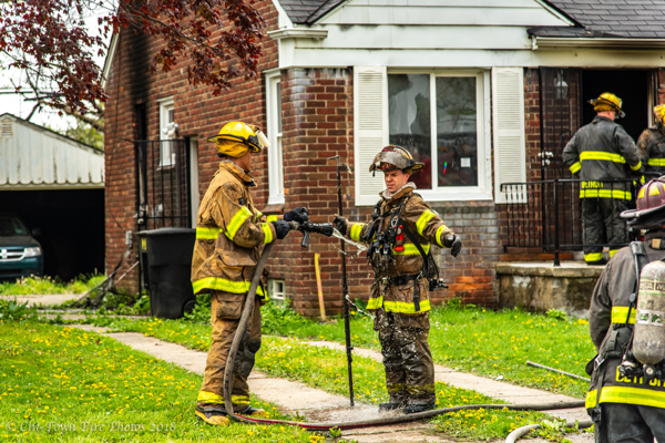 Detroit Firefighter in decon after a fire