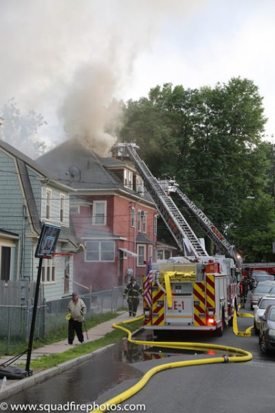 Firefighters battle building fire