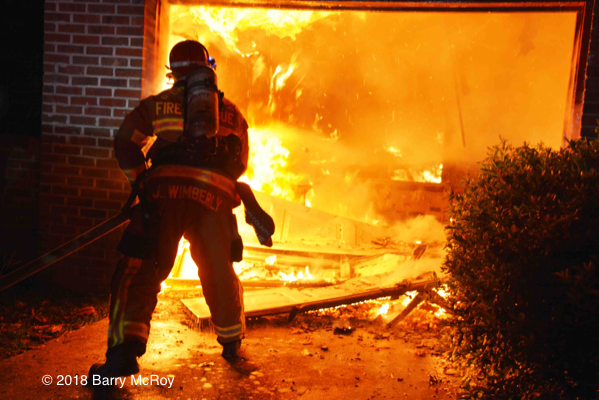 Colleton County firefighter battles fire in a garage