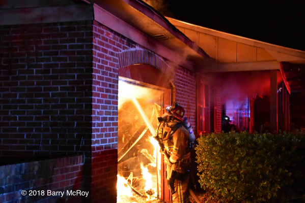 Colleton County firefighter battles garage fire
