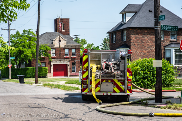 Detroit fire engine deployed by fire station