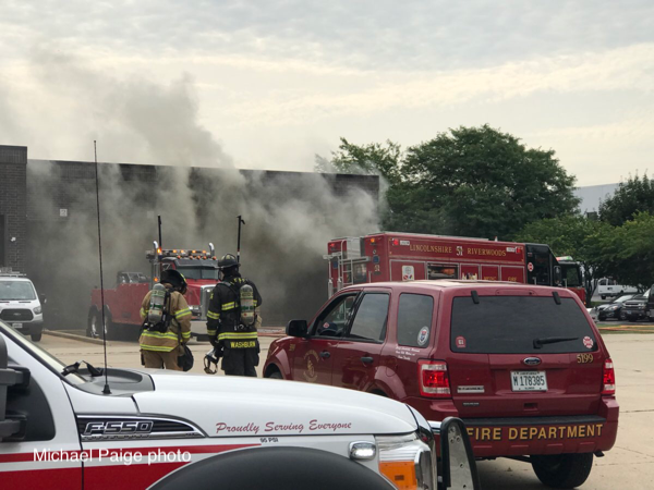 heavy smoke from a trash compactor fire
