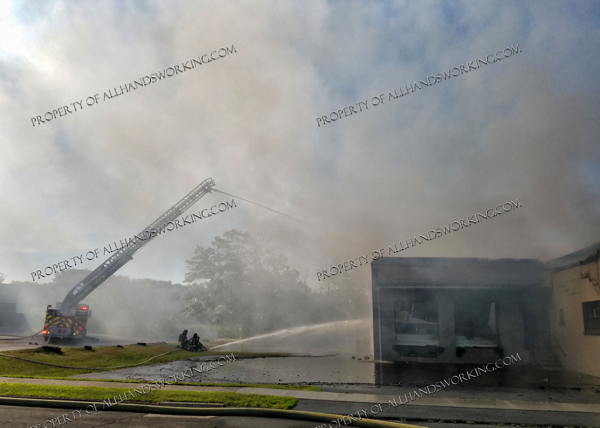 fire scene with heavy smoke