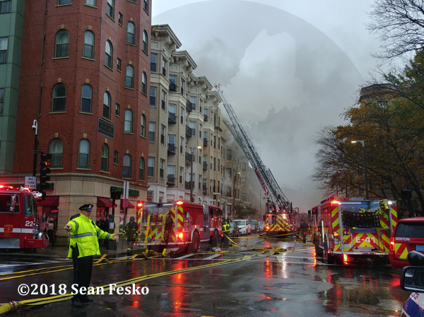Boston fire trucks at fire scene