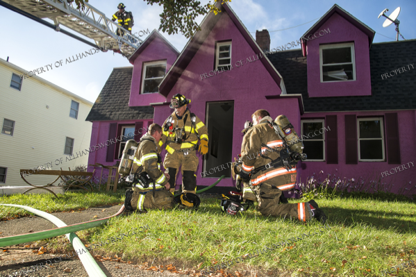 Firefighters in West Have CT at the scene of a fire in a house
