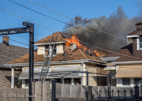 Chicago bungalow on fire
