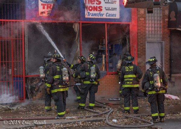 Chicago Firefighters at a commercial building fire