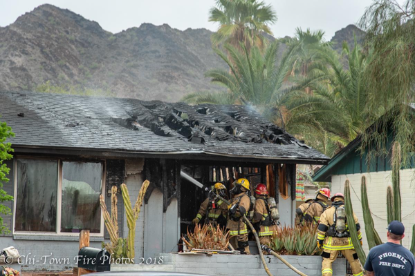 Phoenix FD Firefighters at a house fire