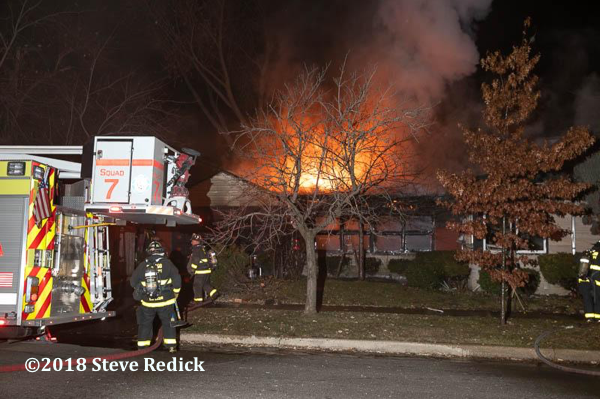 night house fire scene on Chicago
