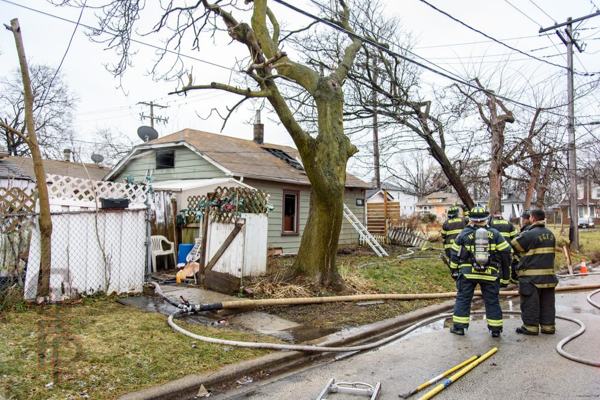 aftermath of a fire in a small house