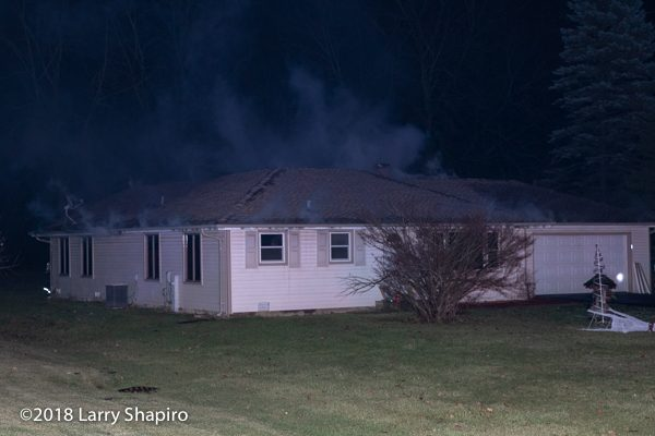 smoke from eaves of house on fire