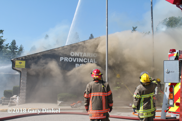heavy smoke pours from Ontario Provincial Police building fire