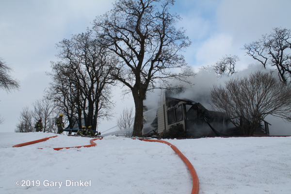 Firefighters battle winter house fire