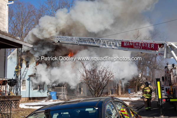 Manchester CT Firefighters battle house fire