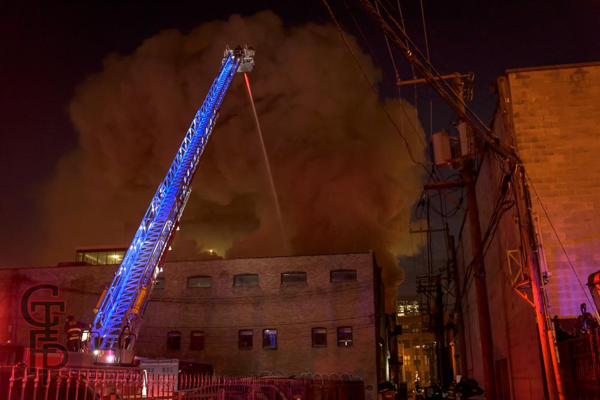 E-ONE tower ladder battles industrial fire