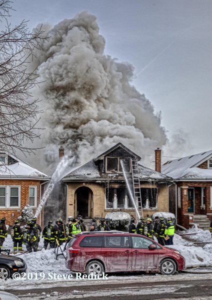 heavy smoke from a Chicago bungalow on fire