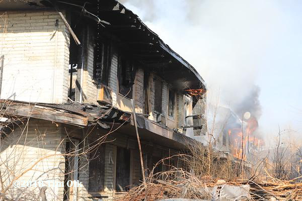 vacant apartment building destroyed by fire