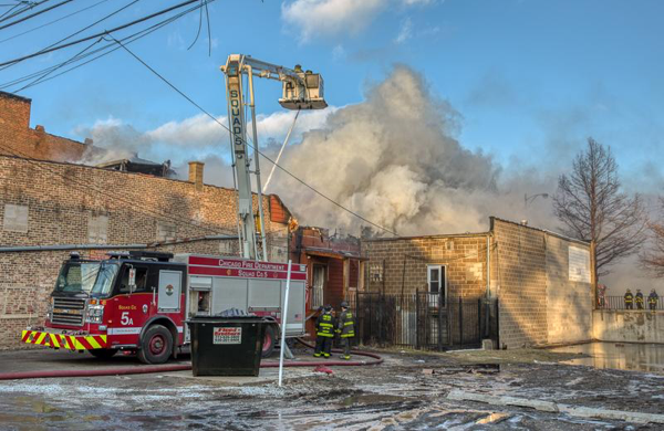 Chicago FD Squad 5A working at a fire