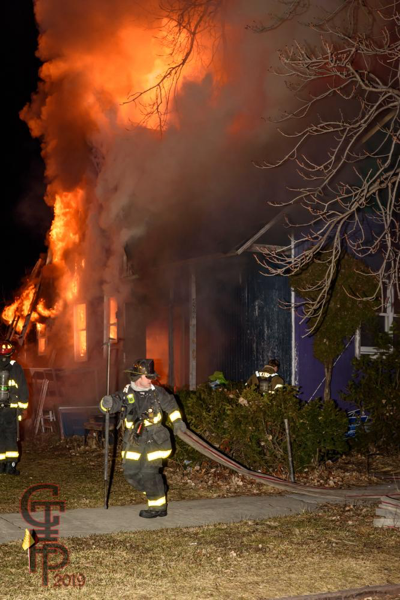 Detroit Firefighters battle dwelling fire at night