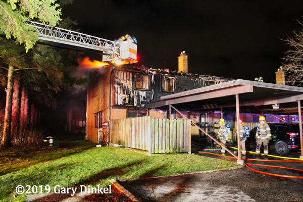 Kitchener Firefighters at townhouse fire