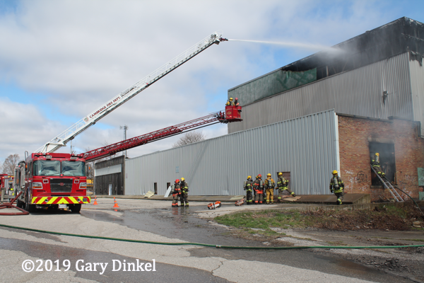 vacant warehouse fire in Cambridge ON