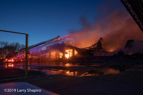 aftermath of huge industrial fire