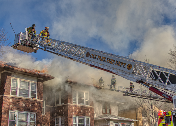Oak Park FD E-ONE tower ladder at work