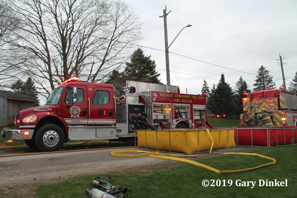 Wilmot Township (ON) FD engine drafting from portable tanks