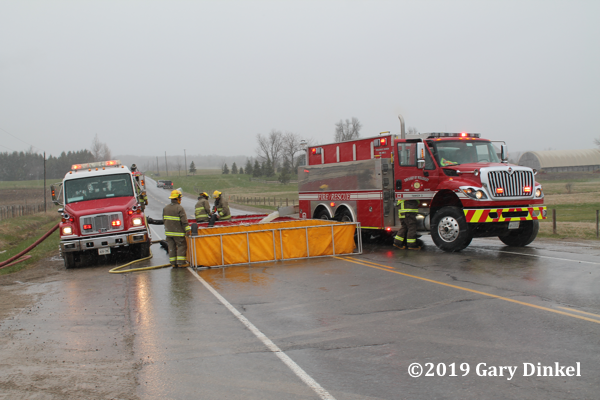 rural water supply at fire scene with portable tanks