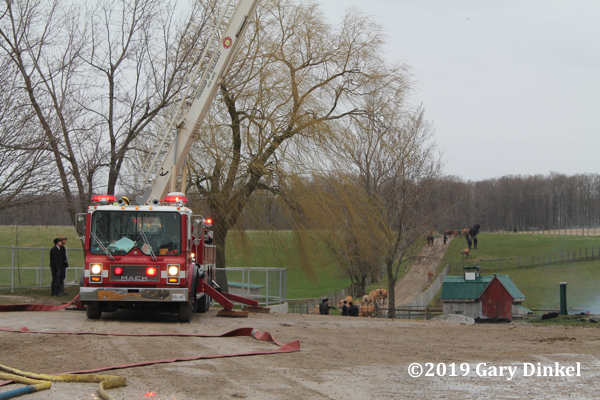 Mack Thibault aerial working at fire scene