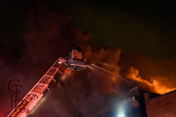 Detroit FD Ladder 17 working at a fire