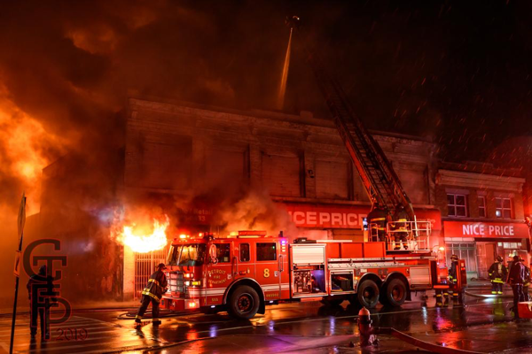 Detroit FD Ladder 8 working at a fire