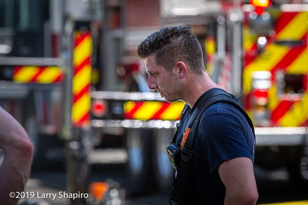 exhausted Firefighter after fighting a fire