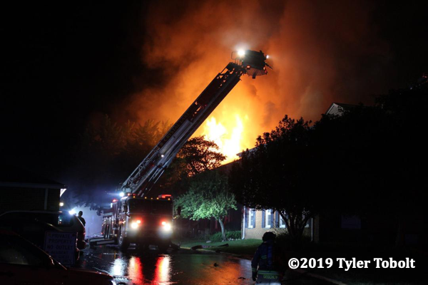 massive flames from house fire at night