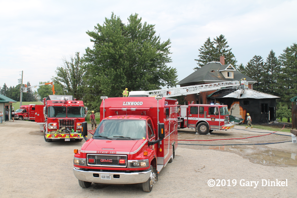 fire trucks at fire scene in Ontario