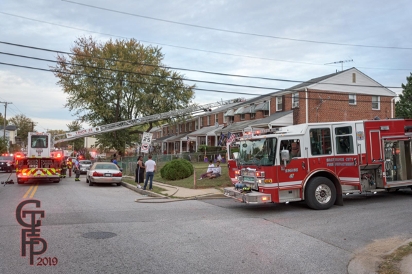 Baltimore City fire trucks at fire scene