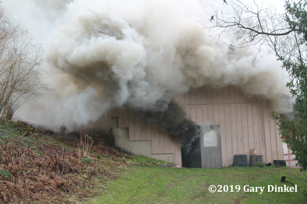 heavy smoke from barn fire
