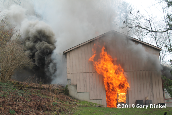 smoke and flames from barn on fire
