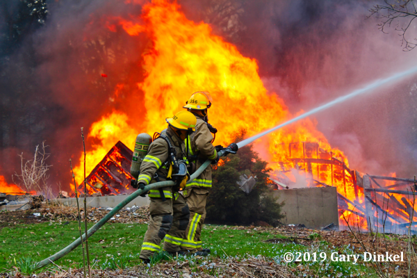 Cambridge Firefighters battle flames