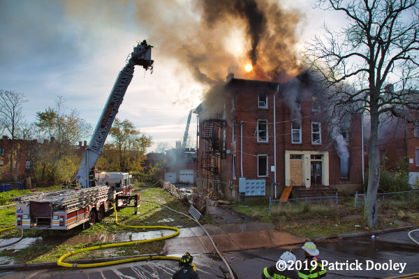 Sutphen tower ladder at work at Hartford CT fire