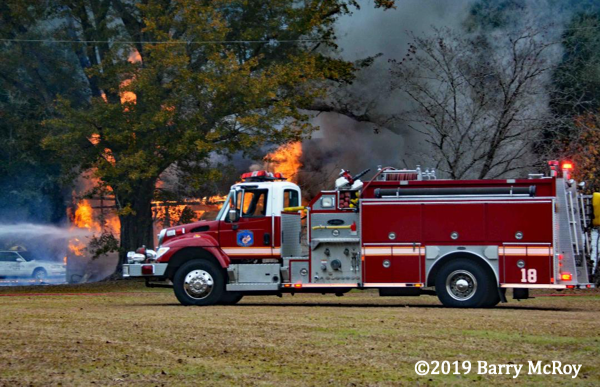 Colleton County fire engine at house fire