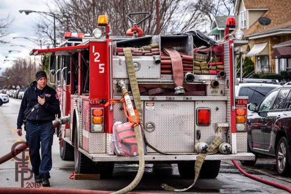 Chicago fire engine hose load